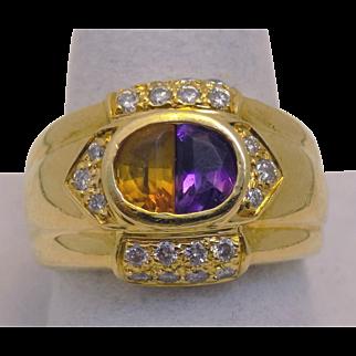 Vintage Estate Ring Citrine & Amethyst Pronged Diamonds Yellow Gold - Unisex - Size 6 - 18 karat 18k