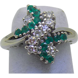 Vintage Estate Ring Emeralds Bright Diamonds White Gold - Ladies - Size 4 - 14 karat 14k
