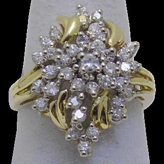 Vintage Estate Ring Cocktail Diamond Clusters Yellow Gold - Ladies - Size 7 - 14 karat 14k