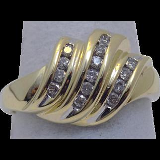 Vintage Estate Ring Diamond Shrimp Channel Set Yellow Gold - Ladies - Size 8 - 14 karat 14k