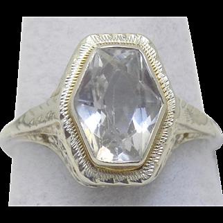 Vintage Estate Ring Aquamarine Stone Filigree Setting White Gold - Ladies - Size 5.75 - 14 karat 14k