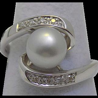 Vintage Estate Ring Light Grey Cultured Pearl 8mm Prong Set Diamonds White Gold - Ladies - Size 9 - 14 karat 14k
