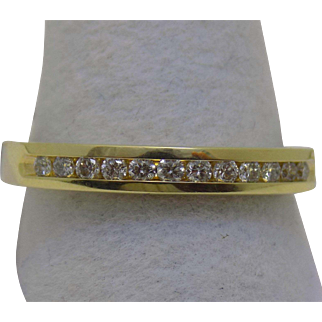 Vintage Estate Ring 12 Good Quality Channel Set Diamonds Yellow Gold - Ladies - Size 9 - 14 karat 14k