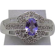 Vintage Estate Ring Diamond with 1/2 Fully Faceted Substantial Tanzanite White Gold - Ladies - Size 9 - 14 karat 14k