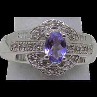 Vintage Estate Ring Diamond with 1/2 Fully Faceted Substantial Tanzanite White Gold - Ladies - Size 9 - 14 karat 14k