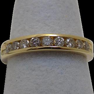 Vintage Estate Ring 9 Diamonds Channel Set 3.25mm Band Yellow Gold - Ladies - Size 5 - 14 karat 14k