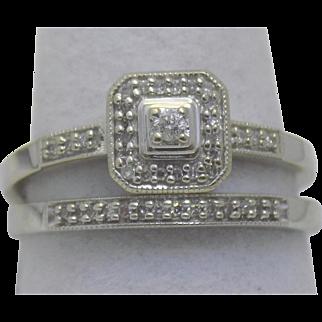 Vintage Estate Ring Prong Set Diamond Engagement + Wedding Band White Gold - Ladies - Size 7 - 10 karat 10k