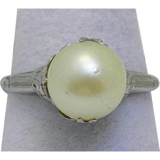 Vintage Estate Ring 9mm Cultured Pearl White Gold - Ladies - Size 7.5 - 14 karat 14k