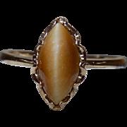 Vintage Ring Oval Tiger Eye Yellow Gold - Ladies - Size 8.75 - 10 karat 10k (Tiger's Eye)