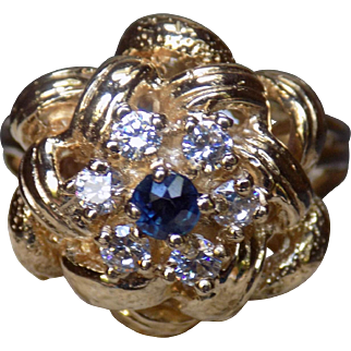 Estate Ring Sapphire Diamonds Yellow Gold - Ladies - Size 6.5 - 14 karat 14k
