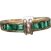 Estate Ring Channel Set Emeralds Diamonds Yellow Gold - Ladies - Size 7 - 14 Karat 14k