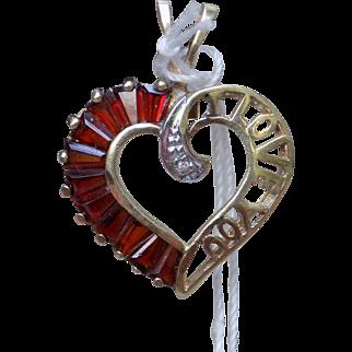"Estate Heart Shaped Pendant ""I LOVE YOU"" with red garnets & white diamonds Yellow Gold - Ladies - 10 Karat 10k"