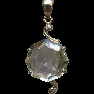 Estate Pendant Drop Basket Setting Fully Faceted Quartz Stone with a Diamond Yellow Gold - Ladies - 14 karat 14k