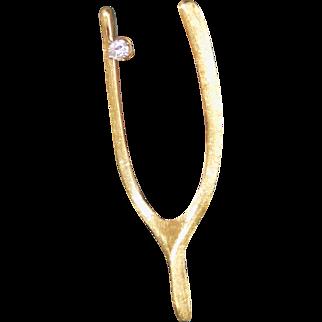 Estate Brooch Wishbone Set Diamond Pin Yellow Gold - Ladies - 18 karat 18k
