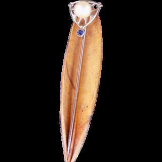 Estate Art Deco Stick Pin Pearl & Sapphire White Gold - Ladies - 10 karat 10k