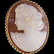 Estate Cameo Pendant Brooch Yellow Gold - Ladies -  14 karat 14k
