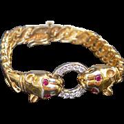 Vintage Bracelet Yellow Gold Cougar with Ruby Eyes & 10 Fully Faceted Diamonds in White Gold Rings - Ladies - 14 karat 14k