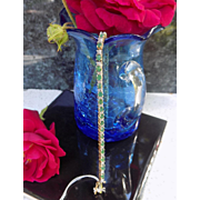 Vintage Bracelet Tennis Style with Emeralds in Yellow Gold & Diamonds in White Gold  - Ladies - 14 karat 14 k