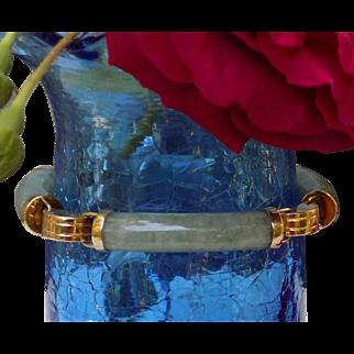 Vintage Bracelet Light Green Jade Tubular Segments Yellow Gold - Ladies - 14 karat 14k