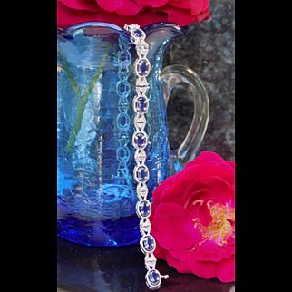 Vintage Bracelet Oval Sapphires & Round Diamonds White Gold - Ladies - 14 karat - 14k