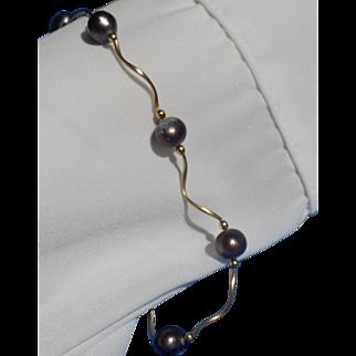 Vintage Bracelet Whimsical Design Black Pearl Segments - Ladies - 14 karat - 14k
