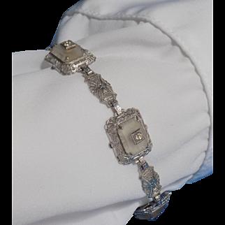 Vintage Bracelet a Filigree Design Quartz & Simulated Diamonds - Ladies - 925 Sterling Silver.
