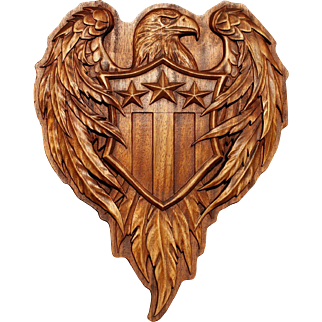 American Coat of Arms, wood carving picture.