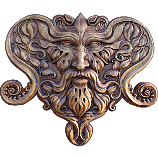"""Hand made wood carved picture  """"GreenMan""""."""