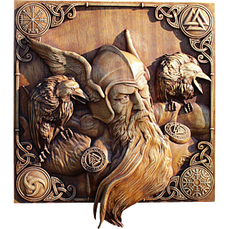 """Hand made wood  carved portrait  """"ODIN AND HIS RAVENS""""."""