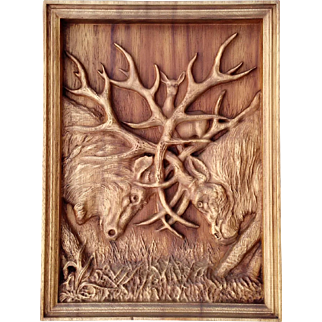 """Hand made wood carved picture  """"Encounter"""""""