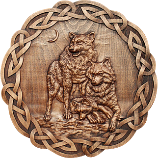 """Hand made wood carved picture """"Family of wolves""""."""