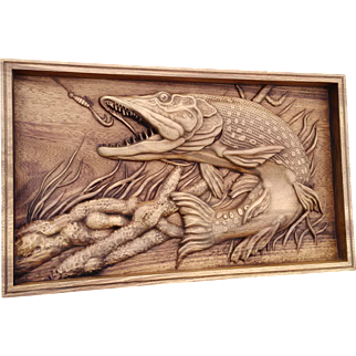 Hand made wood carved picture, Gift for the fisherman