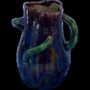 Art Nouveau Drip Glazed 3 Handled Vase