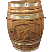 Oak Carved Beer Barrel Drinks Cabinet on Castors