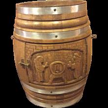 Oak Carved Beer Barrel Drinks Cabinet on Castors