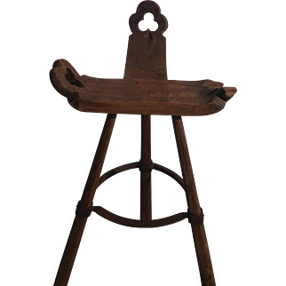 Antique Wooden Bar stool with Metal Footrest