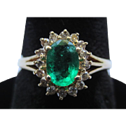 Emerald and Diamond 14k Gold Vintage Halo Ring