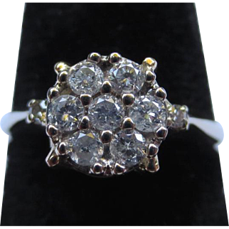 Vintage 14k Gold and Diamond Cluster Cocktail Ring