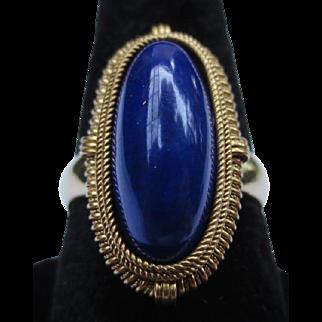 Etruscan Revival 18k Gold Lapis Lazuli Cocktail Ring