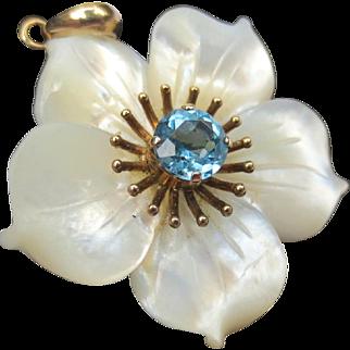 Lovely Vintage 10K Gold Topaz Mother Of Pearl Flower Pendant