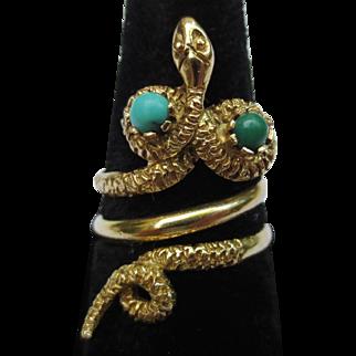 Fabulous 18k Gold Persian Turquoise Vintage Snake Ring