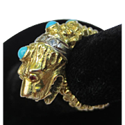 Superb Etruscan Revival 18k Gold Persian Turquoise Diamond & Ruby Lion Tiger Ring