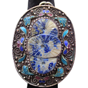 Vintage Chinese Silver Carved Lapis Lazuli Enamel Butterfly Pendant