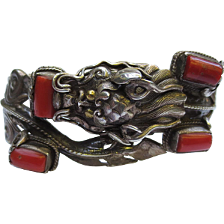 Fabulous Sterling Silver Dragon Coral Vintage Chinese Bracelet