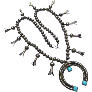 Navajo Silver & Turquoise Vintage Squash Blossom Necklace