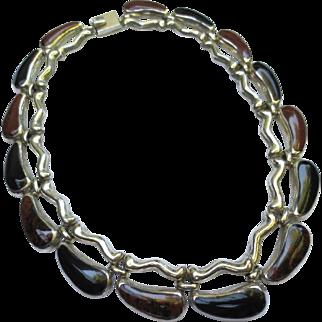 Mexican 950 Silver Fine Onyx Bookchain Necklace