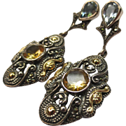 Etruscan Style Sterling Silver & 18k Gold Citrine Chandelier Marcasite Earrings