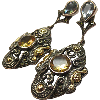 Etruscan Style Sterling Silver & 18k Gold Citrine Chandelier Marcasite Earrings