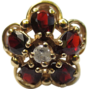 14k Gold Garnet & Diamond Vintage Flower Ring