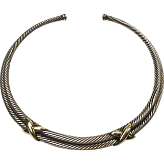 Sterling Silver & 14k Yellow Gold David Yurman Cable Rope Necklace Collar